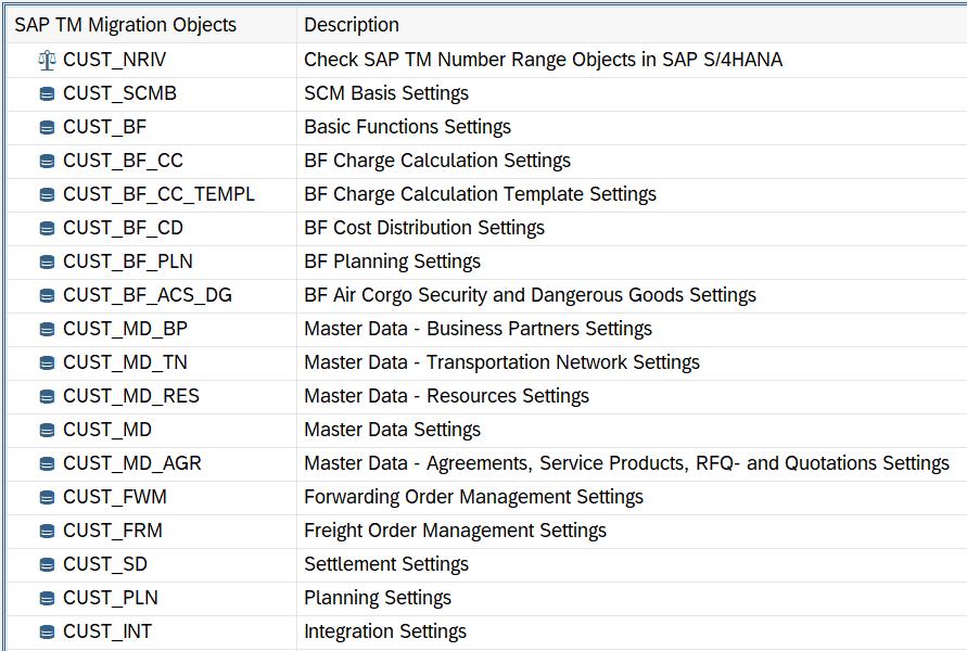 SAP TM Migration Cockpit