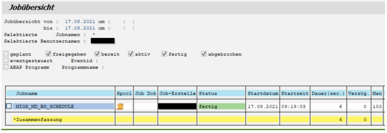 SAP TM Stammdatenprotolkoll