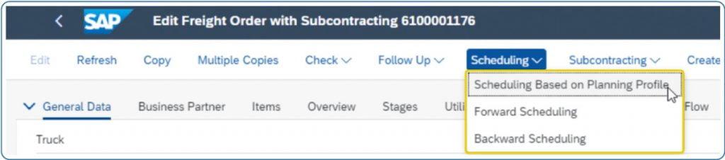 SAP Darstellung der Embedded Scheduling Based on Planning Profile