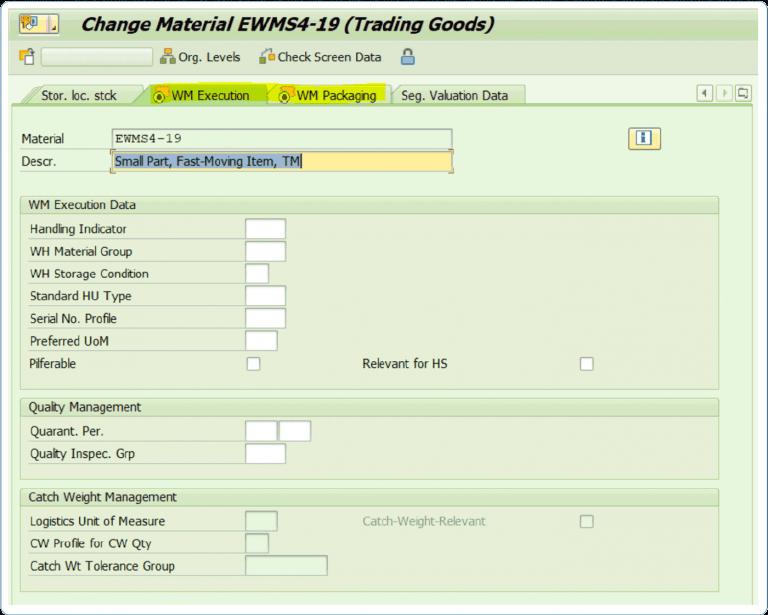Display Pflege EWM-Stammdaten in Transaktion