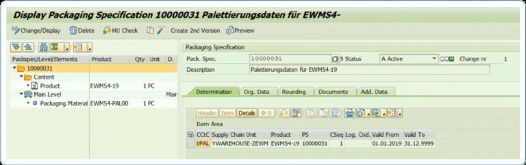 Display EWM-Packspezifikationen